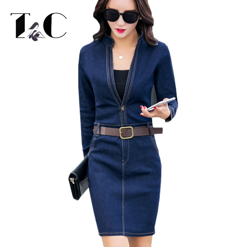tc women denim dress 2017 autumn fashion casual blue slim