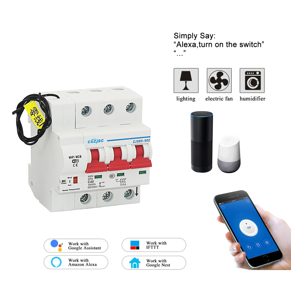 3P 80A WiFi Smart Circuit Breaker overload and short circuit protection with Amazon Alexa and Google