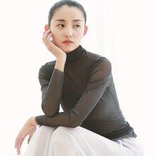 dance shirt sheer power mesh ballet high neck T long sleeve tops