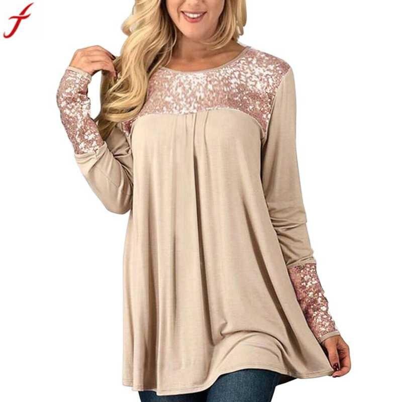 2018 Frühling Herbst Bluse Frauen Mode Pailletten Tops Langarm Oansatz Beiläufige Pullover Hemd Bluse Blusa Feminina