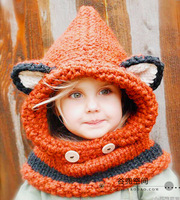 Children Of 3 5 Years Girl Chunky Hooded Scarf Children Fox Cowl Hoodie Cowl Kids Winter