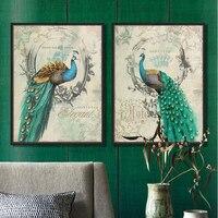 Peacock Blue Retro Frame Decorative Artist Decorative Wall Art Oil Painting Canvas Art Shipping