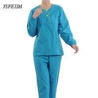 Women Hospital Medical Scrub Clothes Set Long Sleeves Nursing Scrubs Uniform Set Lab Hospital Women Men Uniform Top and Pants