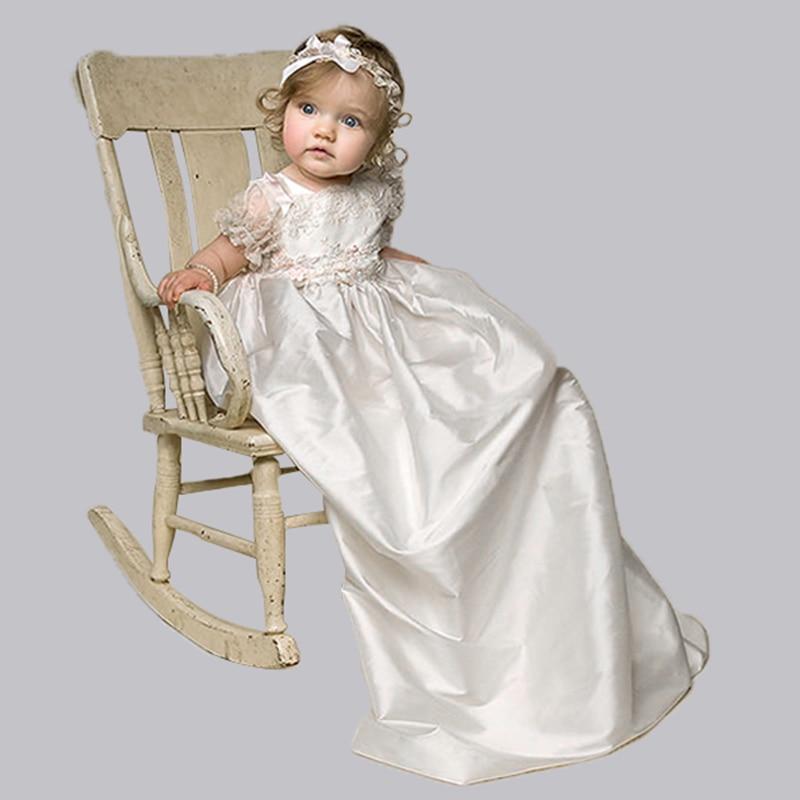 Nimble Satin / Lace Nyfödda kläder Barndräktsklänningar Vit Baby Girl kläder första nattkläder för flickor troll