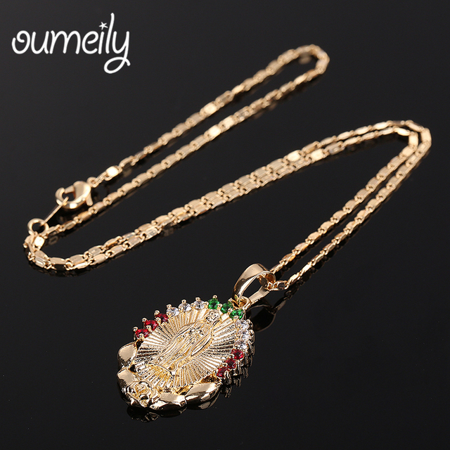 OUMEILY Oval Angle Virgin Mary Maria Statement Necklace Catholic