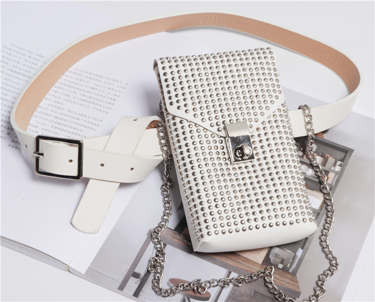 2019 New Design Women Waist Belt Packs With Phone Bag Punk Rivet Studded Street Fanny Packs Female Chain Shoulder Crossbody Bags