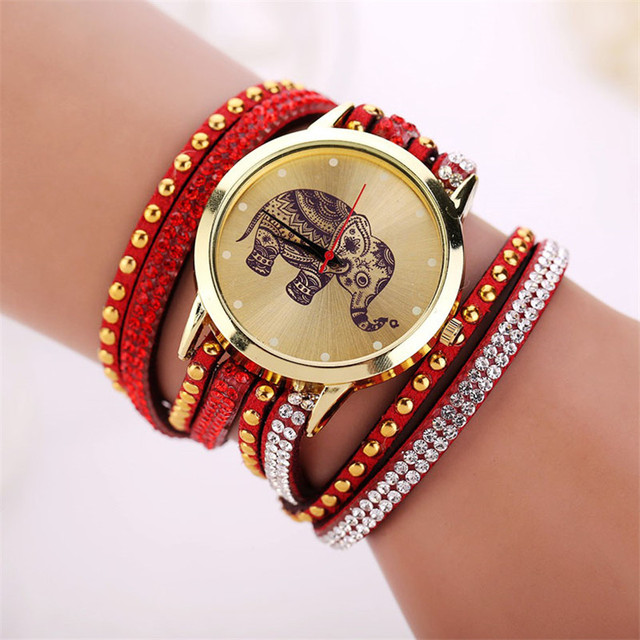 Elephant Printed Braided Wrap Women Bracelet Watch Fashion Girl Leather Strap Ri