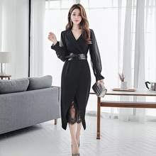 Neue ankunft mode frauen perspektive wilden kleid temperament dünne sexy spitze solide bleistift kleid komfortable partei sexy frauen set