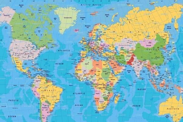 beddengoed kamer ontwerp muur posters wereldkaart details deel