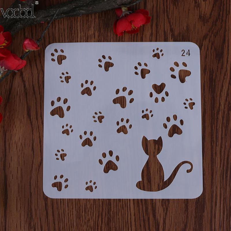 Cat W/ Footprint Template Layering Stencil For Walls Scrapbooking/photo Album Decorative Embossing DIY Paper Cards Craft Stencil