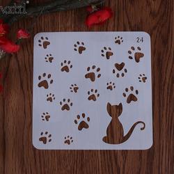 Katze w/Footprint Vorlage Schichtung Schablone für Wände Scrapbooking/foto Album Dekorative Präge DIY Papier Karten Handwerk Schablone