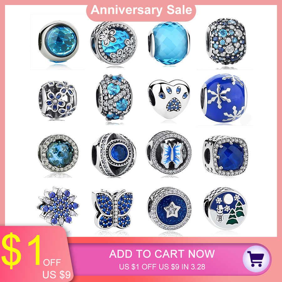 a3e5f9eba 925 Sterling Silver Blue Crystal Charm Beads Fit Original Pandora Charm  Bracelet Necklace Authentic Fashion Jewelry