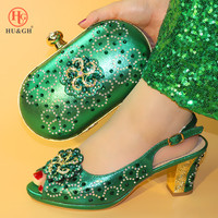 New Arrival Green African Shoes And Bag Set For Party High Quality Italian High Heel Shoes And Bags To Match Women height 7cm