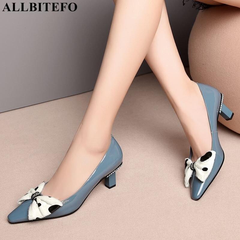 ALLBITEFO sweet bowtie full genuine leather high heels office ladies shoes high quality women high heel