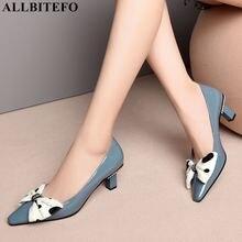 ALLBITEFO ngọt ngào bowtie đầy đủ chính hãng da cao gót phụ nữ văn phòng giày dép chất lượng cao phụ nữ giày cao gót phụ nữ gót