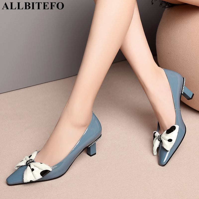 ALLBITEFO sweet bowtie full genuine leather high heels office ladies shoes high quality women high heel shoes women heelsALLBITEFO sweet bowtie full genuine leather high heels office ladies shoes high quality women high heel shoes women heels