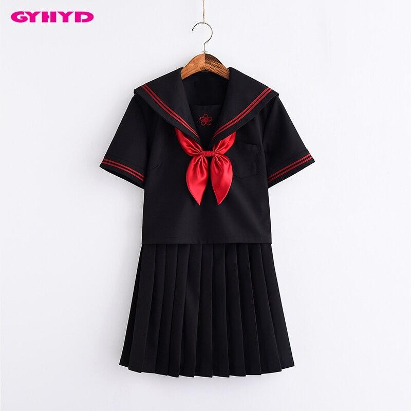 Noir S-XXL filles adolescentes japonaises cerisier fleur broderie Anime école fille uniforme