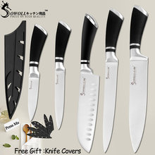 SOWOLL Stainless Steel Knife Kitchen Knife Set Tools Sharp Blade Paring Utility Santoku Slicing Chef Cooking Knife Cutlery Set(China)