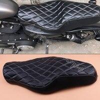 Moto Nero Driver + Passeggero Due Up Sedile Divano Sedile Tour Panca Posteriore Cuscino per Harley Sportster 883 di Ferro XL1200