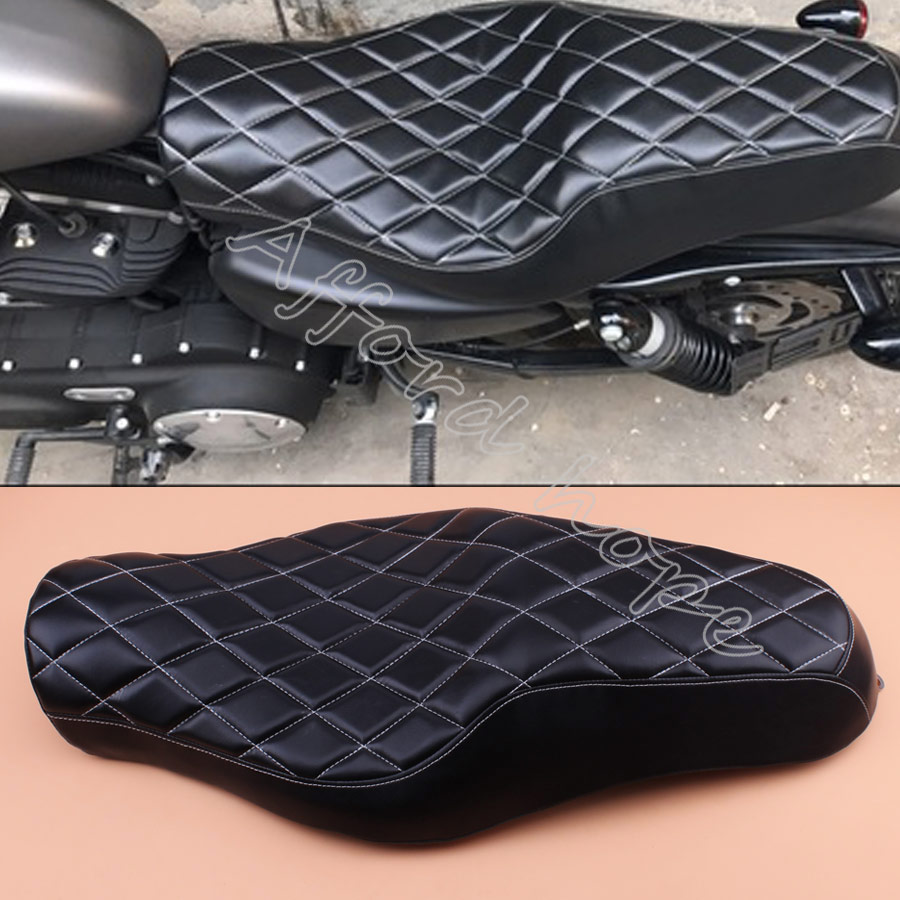 Motorcycle Black Driver+Passenger Two Up <font><b>Seat</b></font> Sofa <font><b>Seat</b></font> Tour <font><b>Seat</b></font> Bench <font><b>Rear</b></font> Cushion for Harley Sportster <font><b>883</b></font> <font><b>Iron</b></font> XL1200 image