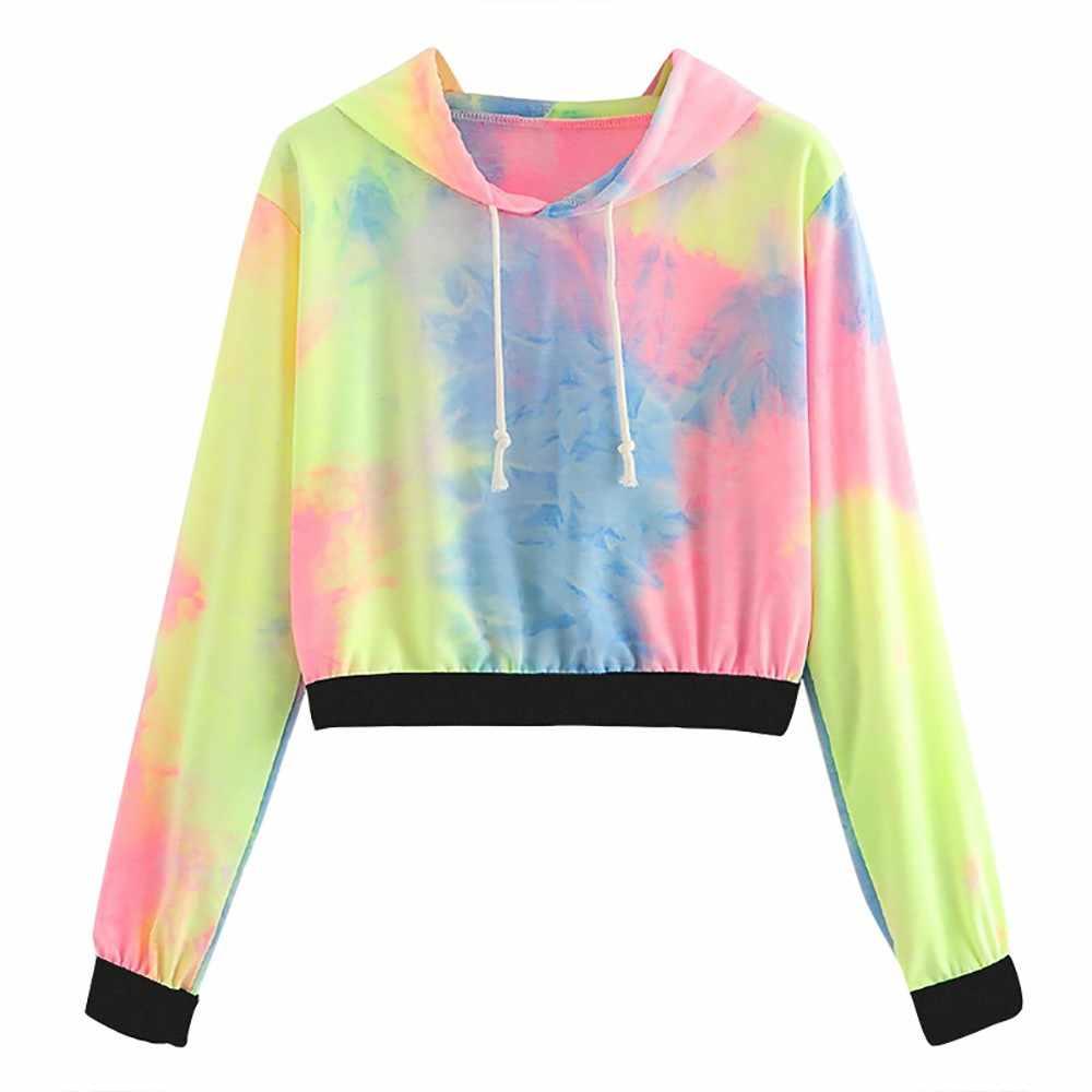 138e0e97c1c Streetstyle sweatshirt women Long Sleeve Tie Dye Crop Hoodie rainbow color  Patchwork Hoodie Sweatshirt moletom feminina