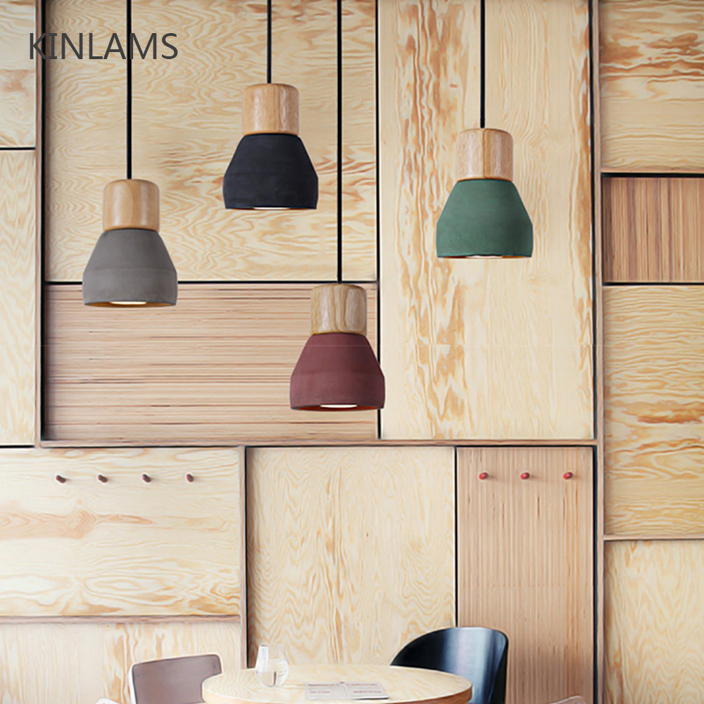 4 color brief Loft Nordic Style wood Cement Pendant lights modern Light led E27 cord lamp Restaurant living room cafe bedroom chinese style classical wooden sheepskin pendant light living room lights bedroom lamp restaurant lamp restaurant lights