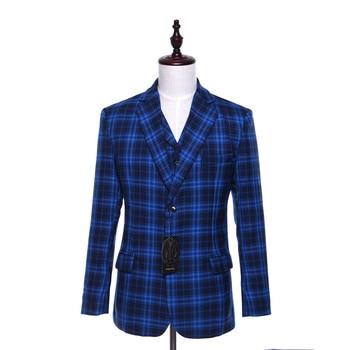 New Mens Casual Blazers Jacket Blue Plaid Pattern Wool Slim Fit England Style Business Wedding Mens Suit Coat Size XS-4XL Custom