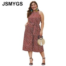 JSMYGS Elegant Loose Women Jumpsuit With Belt Polka Dot Print Plus Size Sleevele