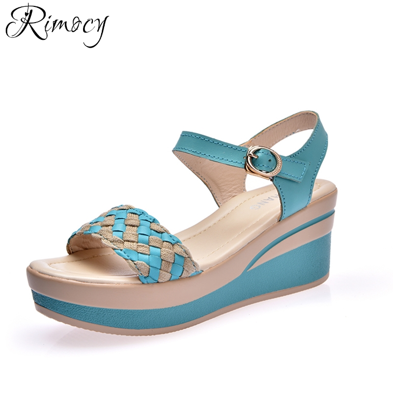Best buy ) }}Rimocy 2018 summer women wedges sandals woven multi colors buckle strap