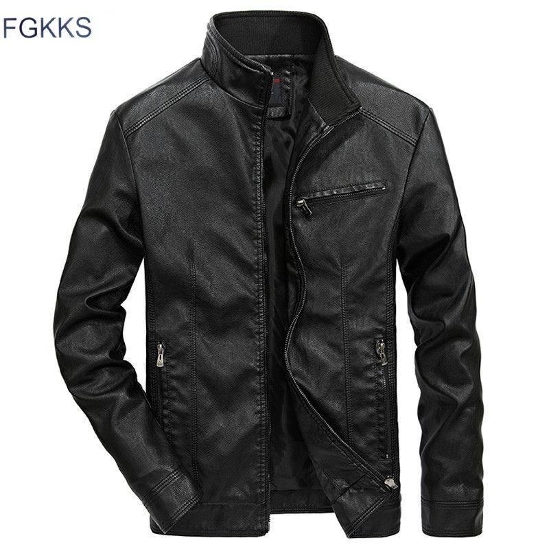 FGKKS Men Jacket Motorcycle-Standing-Collar Warm Brand Men's