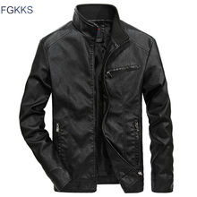 FGKKS Brand Warm Men Leather Jacket Mens Leather Motorcycle Standing Collar Motorcycle Style Mens Leather Jackets