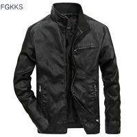 FGKKS Brand Warm Men Leather Jacket Mens Leather Motorcycle Standing Collar Motorcycle Style Men's Leather Jackets