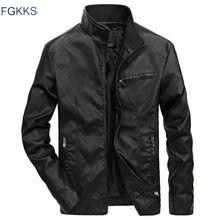 Мужская кожаная куртка FGKKS, теплая мотоциклетная куртка со стоячим воротником, кожаные куртки