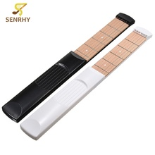 SENRHY Portable Guitar 6 Fret Model Wooden Practice 6 Strings Acoustic Guitar Trainer Tool Gadget with Bag For Beginners Learner