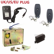 Remote Control Cabinet Drawer Lock Fail Secure 12v Mini Electric Lock+ Remote Control + 12V Power Supply