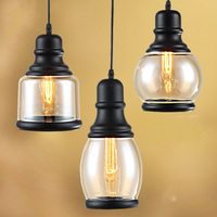 Loft Industrial Chain Pendant Lights Vintage Edison Handlamp Dinning room Lamps Glass Shades led Lights Painted Finish E043 628