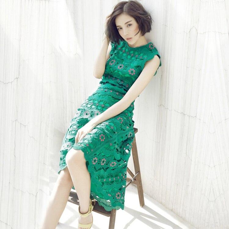 Mode d'été nouvelle fleur lourde dentelle sans manches robe vert