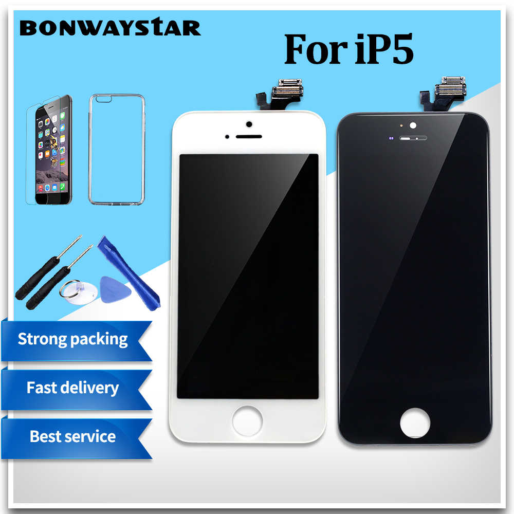 AAA + + + ekran włączony dla iPhone 5 5c 6 zespół ekranu dotykowego LCD zamiennik digitizera moduł dla iPhone 6s 5S wyświetlacz nie martwy piksel