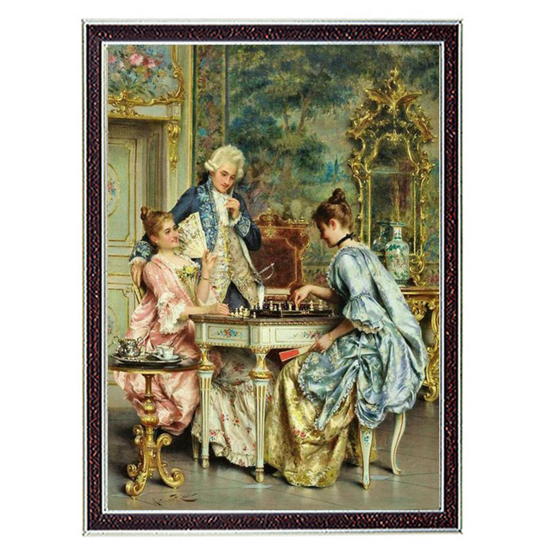 Needlework Crafts 14CT unprinted embroidery French DMC Quality Counted Cross Stitch Kit Oil Painting The Game Of Chess patternsNeedlework Crafts 14CT unprinted embroidery French DMC Quality Counted Cross Stitch Kit Oil Painting The Game Of Chess patterns