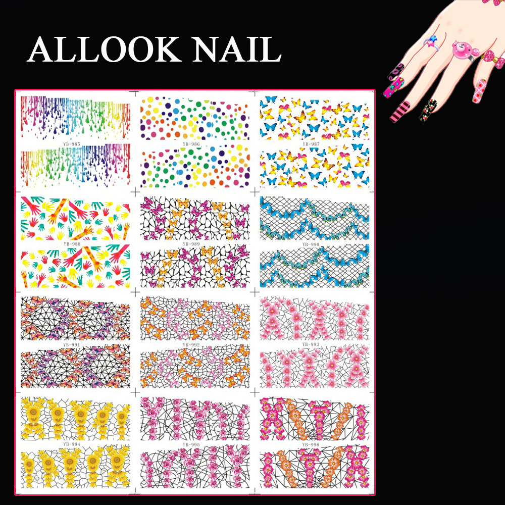 Sticker graphic design software - Nail Water Decal Large Piece Yb985 996 12 Designs In 1 Full Cover