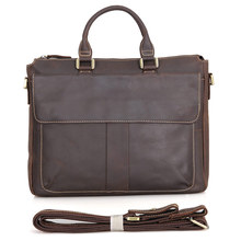 100% Real Crazy horse Leather Style Mens Brown Business Briefcase Handbag Laptop bag 7113R-2