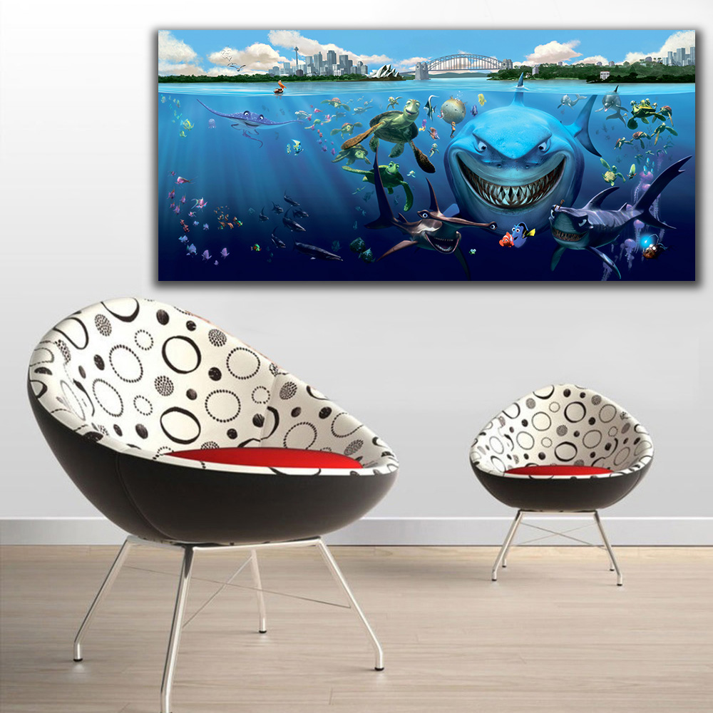 Embelish Free Shipping Big Shark Cartoon Wall Picture Underwater World HD Canvas Oil Painting For Kids Chidrens Living Room Deco