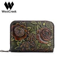 Westcreek Brand Women Genuine Leather Organizer Zipper ID Card Holder Female Vintage Flower Travel Wallets Business