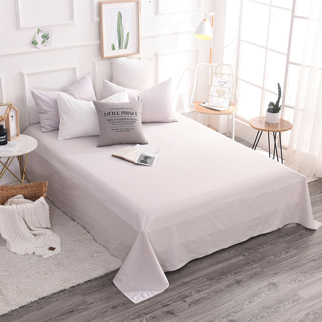 Simple Silver Solid Color 100 Cotton Flat Sheets Queen King Size