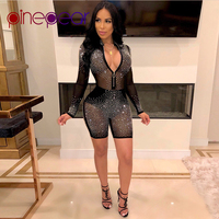 PinePear Mesh Sequin Diamond Playsuit Women Long Sleeve Romper See Through Sexy Club Party Bodycon Mini Jumpsuit Dropshipping