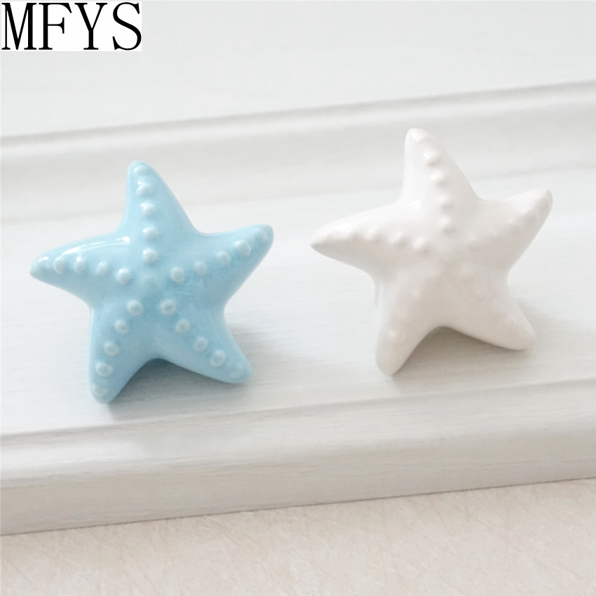 Kids Knobs Dresser / Drawer Knobs Pulls Handles Blue White Ceramic Starfish Sea Star Kids  Cabinet Door Handle Nautical DecorKids Knobs Dresser / Drawer Knobs Pulls Handles Blue White Ceramic Starfish Sea Star Kids  Cabinet Door Handle Nautical Decor