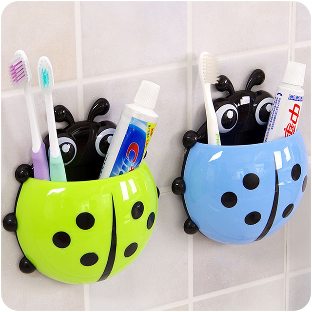 Awesome 1pcs Creative Cartoon Insect Toothbrush Holder Wall Sucker Ladybug  Toothbrush Container Suction Hooks Bathroom Sets