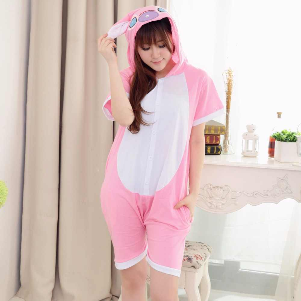 94fbd766d716 Summer Adult Girls Pink Lilo Onesies Tracksuit Women Short sleeved Cartoon  Pink Stitch Pajamas Sleepwear Jumpsuit