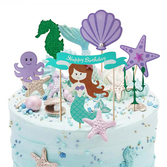 6pcsset Happy Birthday Cake Topper Little Mermaid Party Cupcake