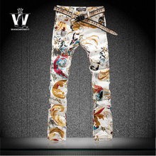 Summer style Personalized jeans male colored drawing pants butterfly flower print trousers mens fashionable clothes outerwear